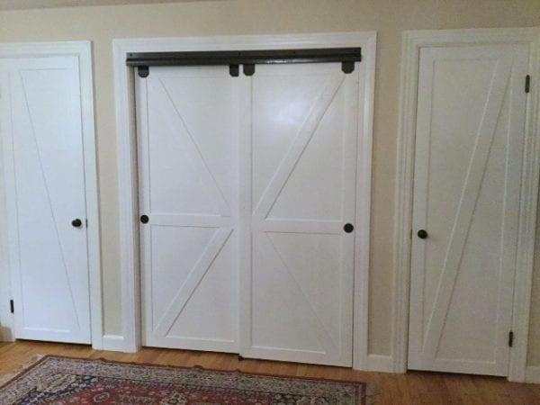Faux Barn Door Closet Door Makeover Featured On @Remodelaholic Edit