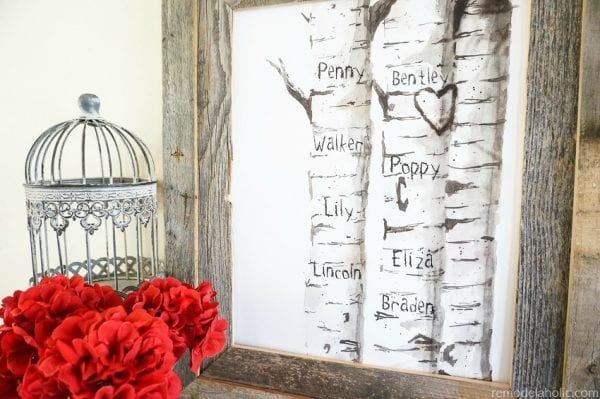 Free Printable Watercolor Birch Tree Art With Custom Carved Initials For Family Or Childrens Names @Remodelaholic 600x399