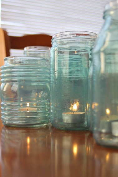 Make Your Own Blue Glass Jars Tutorial How To Diy Remodelaholic.com 1