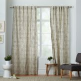 Neutral Living Room Stamped Dot Curtains