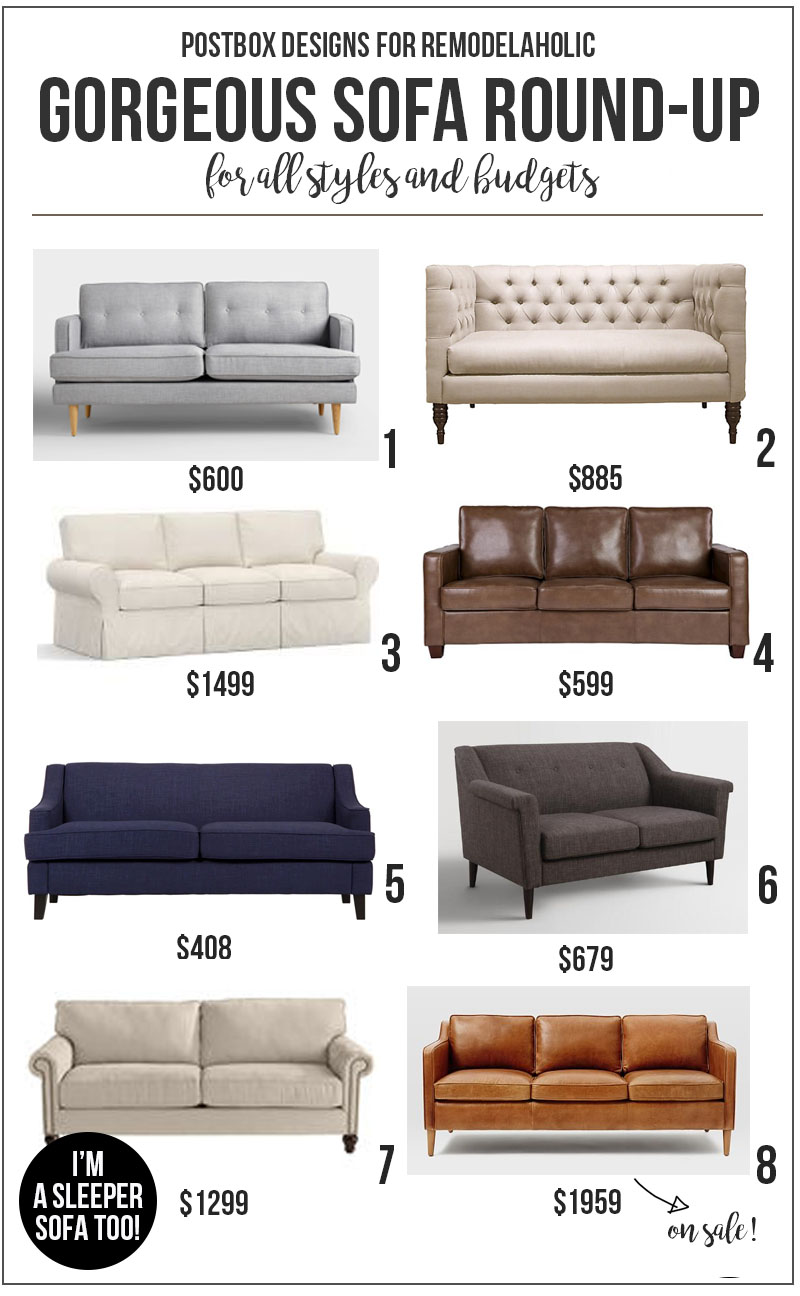Beautiful Sofas for All Styles and Budgets @Remodelaholic | budget-friendly home decorating | designer look for less