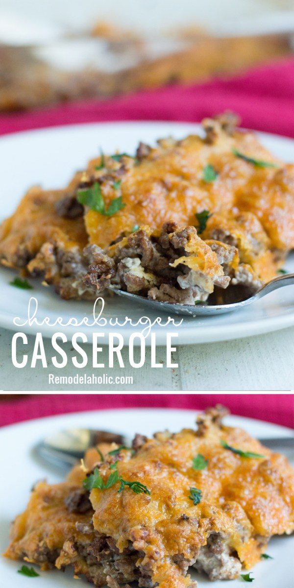 A quick and easy weeknight recipe is always good to have on hand, like this cheeseburger casserole recipe via Remodelaholic.com