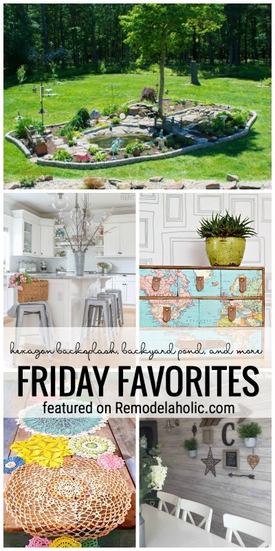 Hexagon Backsplash, Backyard Pond, And More On Friday Favorites Featured On Remodelaholic.com