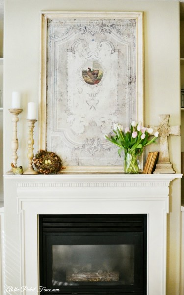 Spring Mantel Decorating Ideas From Atthepicketfence.com