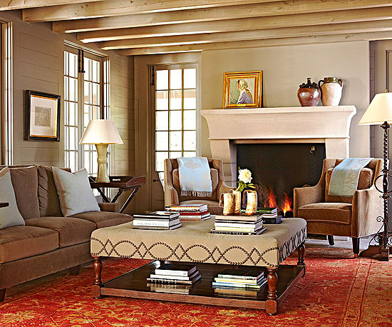 Traditional Living Room With Vintage Style Rug Via Better Homes And Gardens
