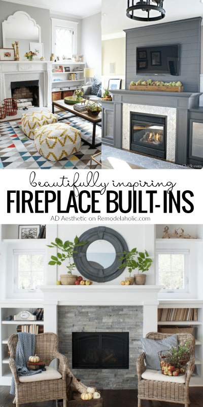How to decorate around a fireplace | Beautiful and inspiring fireplace built-Ins | Built-in shelving | Fireplace mantels | Remodelaholic.com