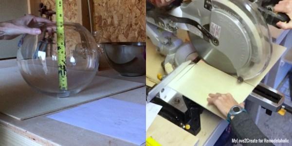 Measure Terrarium Bowl And Cut Plywood, MyLove2Create