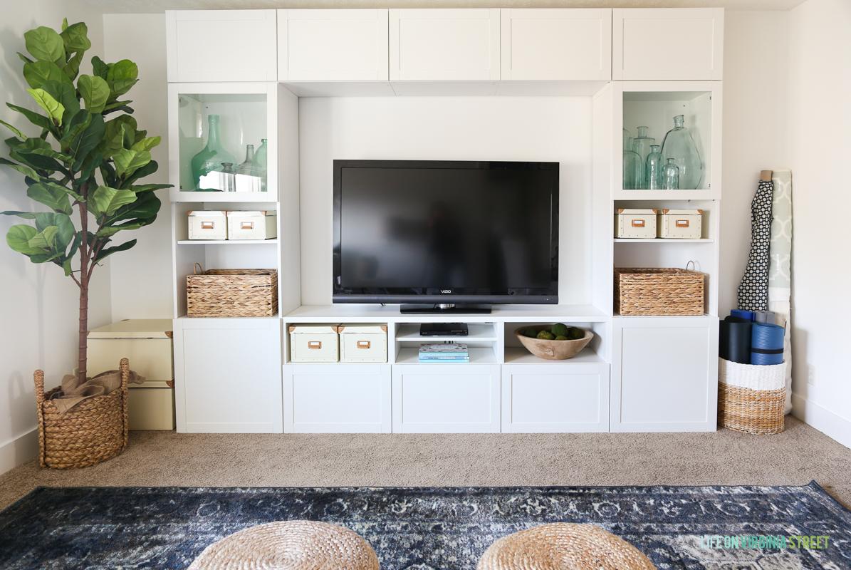 TV Room with Blue Vintage Style Rug via Life On Virginia Street