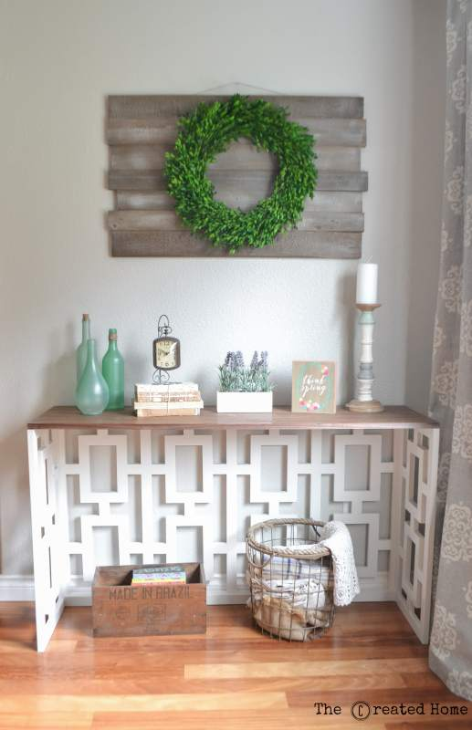 1 DIY Fretwork Console Table With Walnut Veneer Plywood Top By The Created Home Featured @Remodelaholic