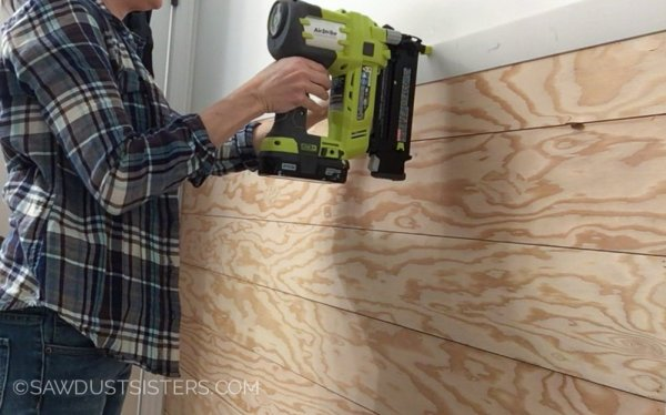 6 Plywood Planked Wall In Bathroom, DIY, By Sawdust Sisters Featured On @Remodelaholic