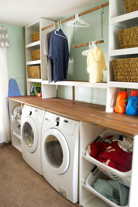 Built In Laundry Unit With Shelving Seesaws And Sawhorses On Remodelaholic