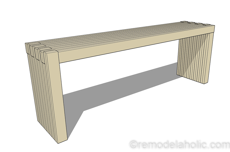 remodelaholic diy modern plywood bench tutorial half lap