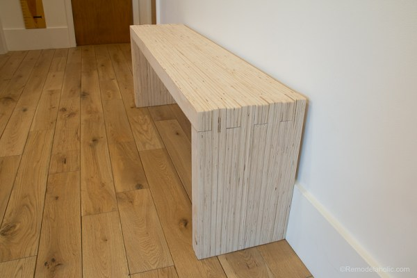 DIY Modern Plywood Bench Tutorial Half Lap Construction @remodelaholic 2