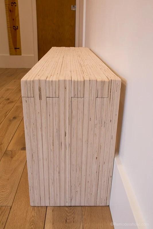 Remodelaholic diy modern plywood bench tutorial half for Diy plywood dresser