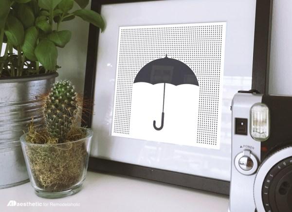 Free Printable Graphic • Umbrella • AD Aesthetic For Remodelaholic • Horizontal