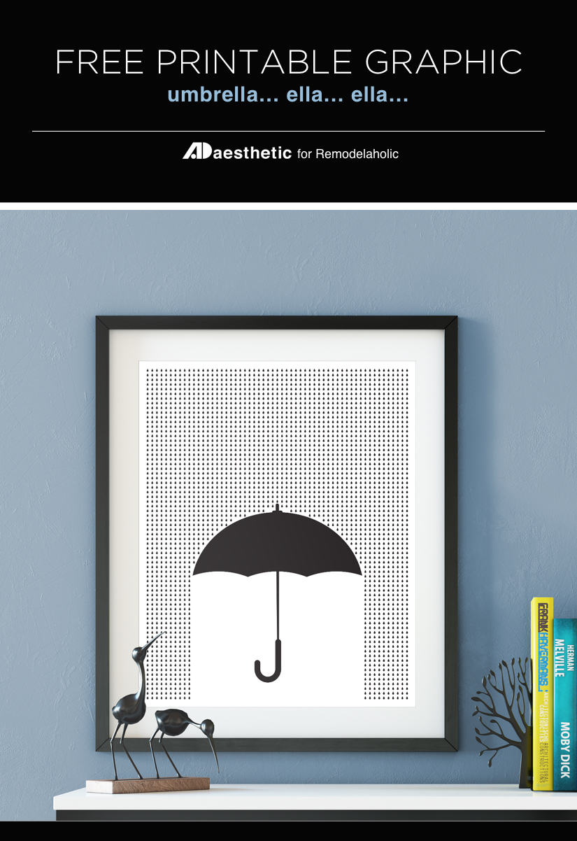 Free Printable: Modern Umbrella Print for Spring   April flowers bring May showers   AD Aesthetic for Remodelaholic.com
