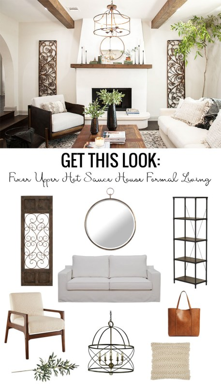 Get the look of the Fixer Upper Hot Sauce House Formal Living Room. A beautiful neutral family room with lots of texture, linen, and boho pillows mixed with wood beams, white walls, stucco fireplace and round brass mirror. Love the slightly Italian vibe.