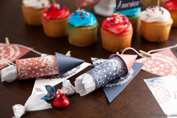 4th of July Party Ideas: Decorate with a printable party pack and printable firecracker favors filled with treats via Remodelaholic.com