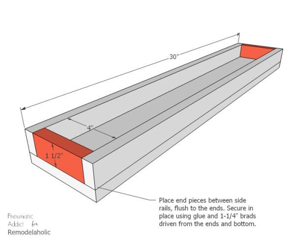 Long Wood Glass Centerpiece End Pieces WM