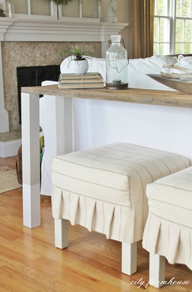 The Easiest Rustic DIY Sofa Table With Dipped Legs1 672x1024