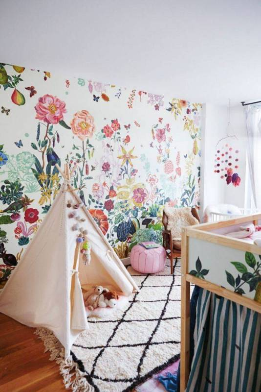 Decorating with Bold Wallpaper | A Garden Grows In Brooklyn Taupe And White Kid S Room 1456173077 56cb613ed82f6a1645dd3cdc W667 H1004