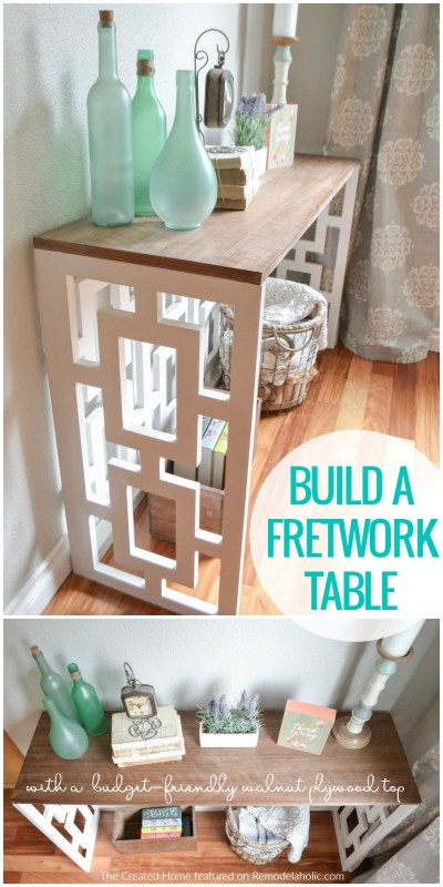 How To Build A Fretwork Console Table With A Budget Friendly Walnut Plywood Top