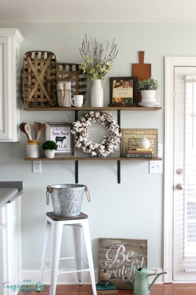 How To Decorate Shelves Farmhouse Kitchen 2