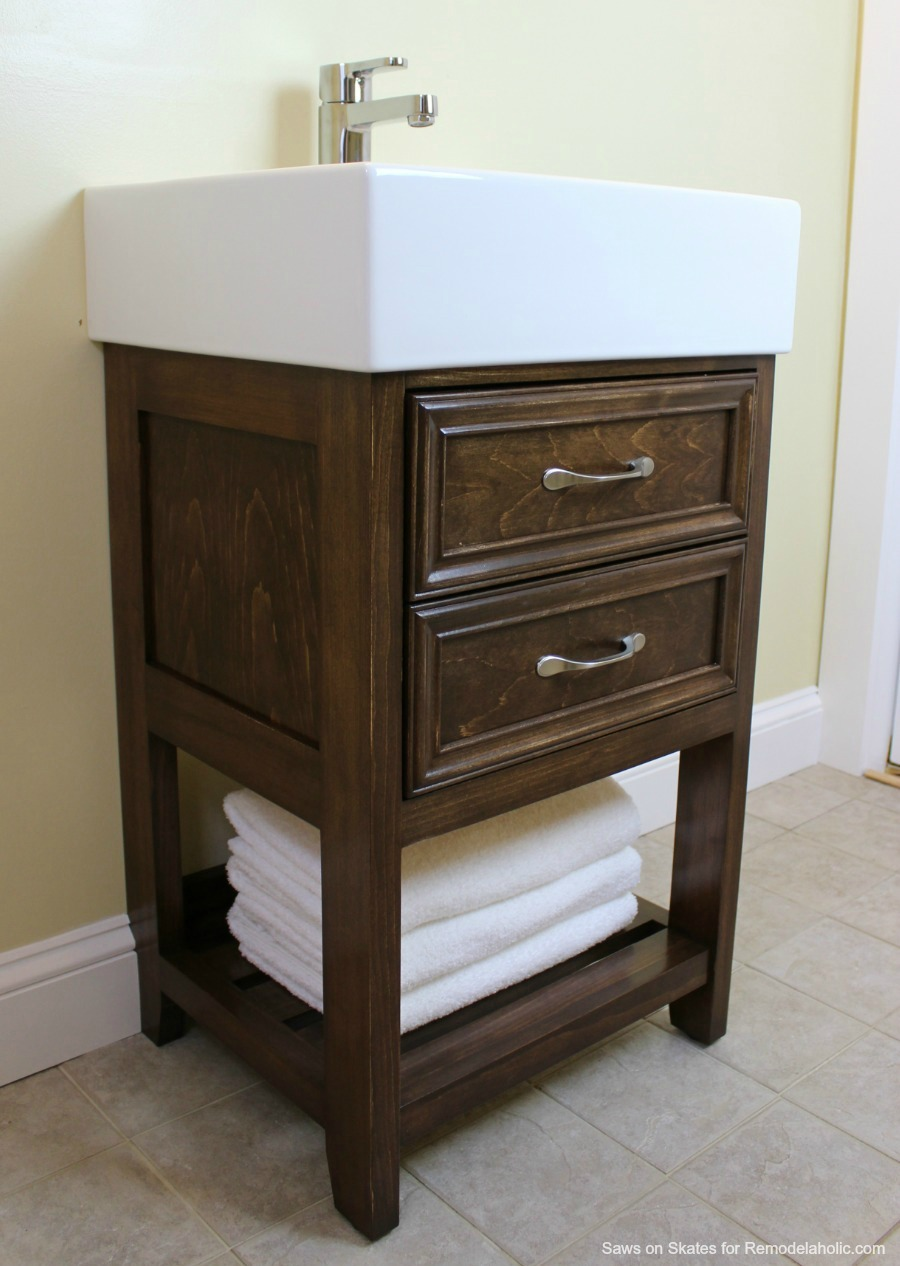 build a small vanity with an ikea sink and it has both open storage - Ikea Bathroom Vanity