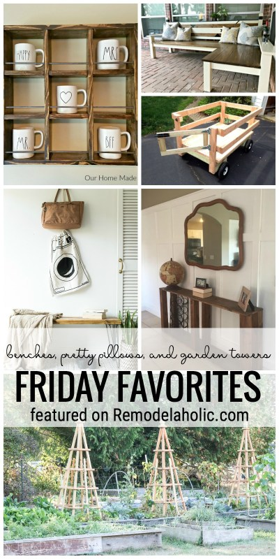 Benches, Pretty Pillows, And Garden Towers Featured On Remodelaholic.com