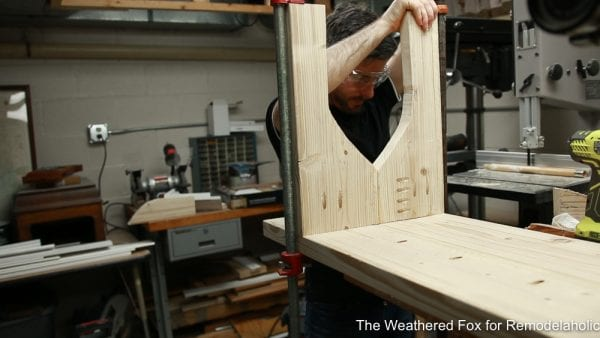 attach legs to seat, step 7 Easy Outdoor Farmhouse Bench The Weathered Fox 9