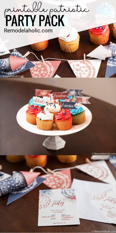 Easy To Use Patriotic Printable Party Pack Via Remodelaholic.com