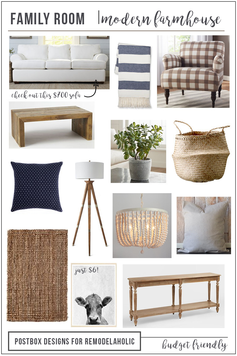 Farmhouse family room mood board vert