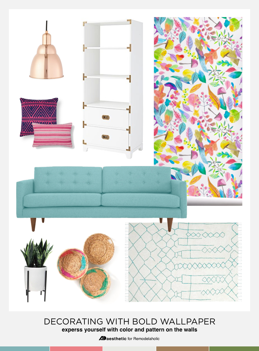 Tips and Design Ideas for Decorating with Bold Wallpaper | colorful walls | patterned wallpaper | decorating tips and tricks