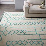 Bold Wallpaper Decor Tips, Ivory Blue Teal Rug Geometric