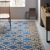 Coastal Dining Room Blue Jute Rug