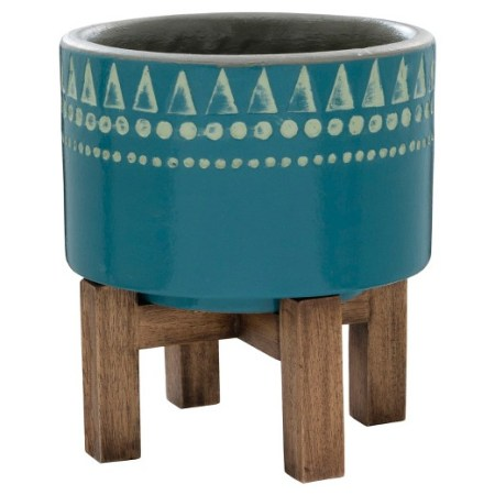 Coastal Dining Room Blue Wood Planter