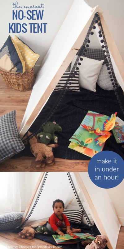 This is the easiest kids tent! It takes just a few supplies and under an hour to make a special play area that will create hours of fun. No sewing required!