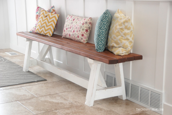 2x4 Wood Project, simple wooden bench by The Creative Mom