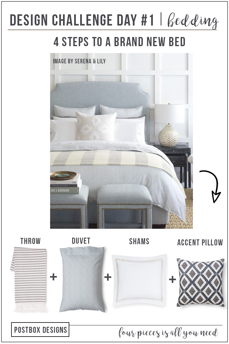Update Your Bedroom with Just 4 Items by Postbox Designs Interior E-Design. Re-create this bedroom with budget-friendly alternatives and a Free Mood Board