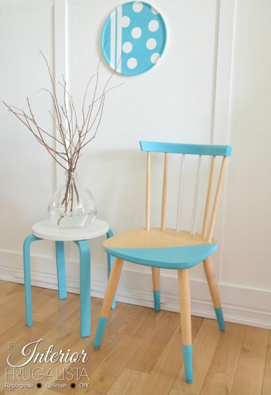 Aqua Painted Scandinavian Wood Chair 650