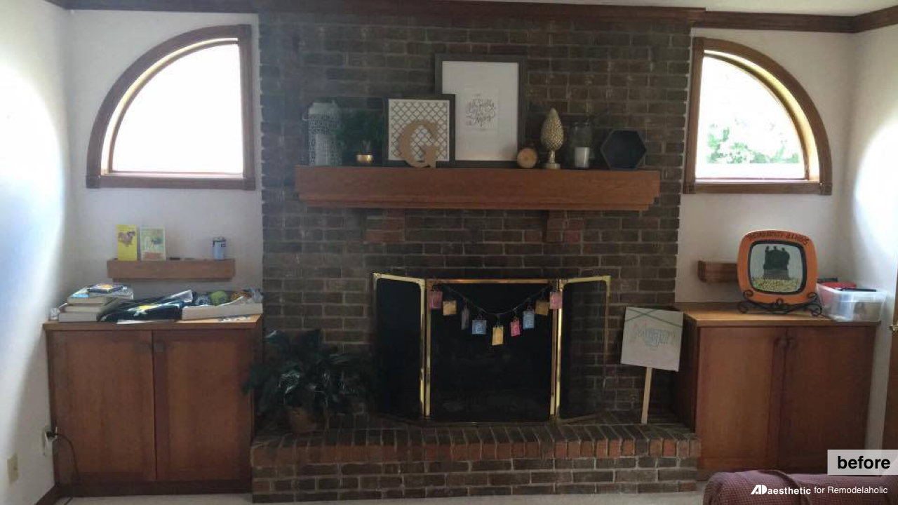 Before Brick Fireplace Facelift