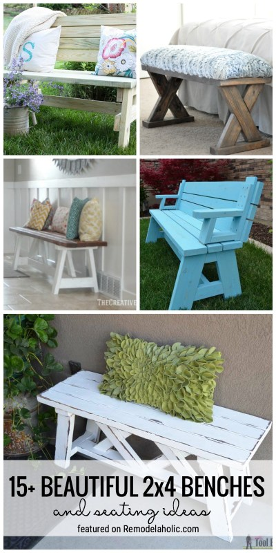 Build Yourself A Place To Sit With One Of These 15+ Beautiful 2x4 Benches And Seating Ideas Featured On Remodelaholic.com