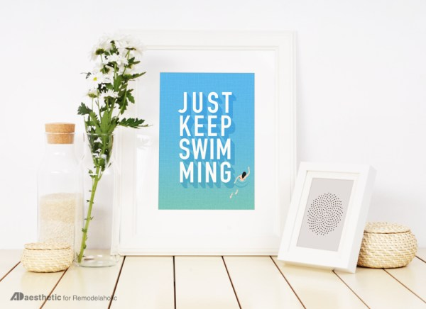 Free Printable Graphic • Just Keep Swimming • AD Aesthetic For Remodelaholic • Horizontal