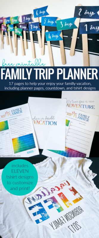 Free Family Vacation Printable Pack Plus Printable Shirts Designs To Customize @Remodelaholic