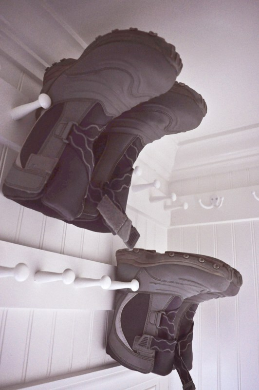 Shoe Storage, Use Rows Of Shaker Pegs Above The Closet Door To Store Out Of Season Boots @Remodelaholic