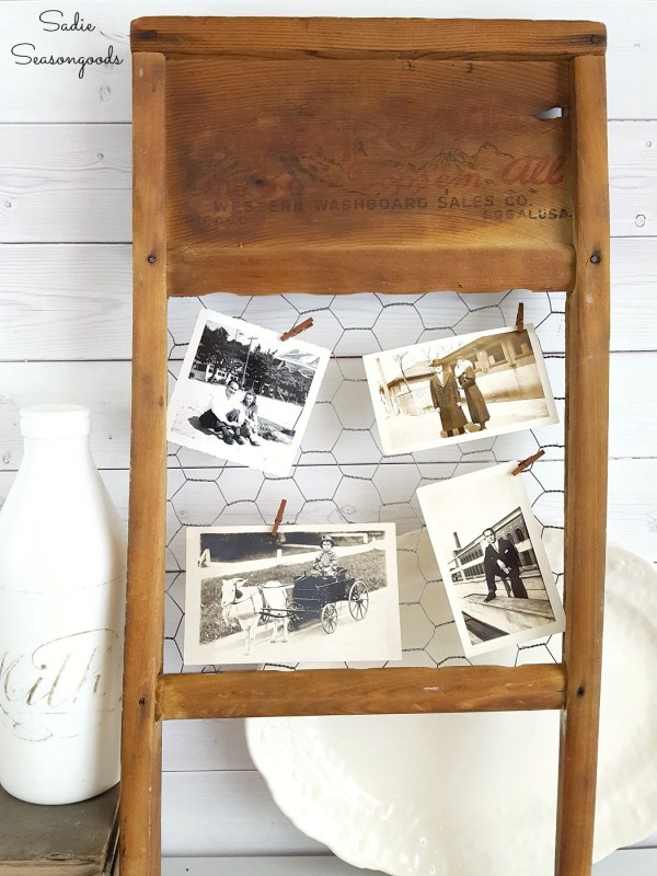 11 Vintage Washboard Repurposed With Chicken Wire Into DIY Rustic Farmhouse Style Primitive Photo Holder By Sadie Seasongoods