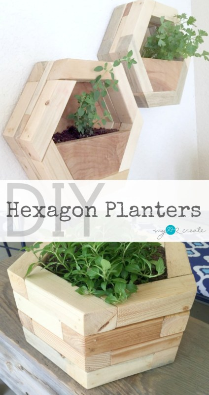 2x2 Projects, Hexagon Planters For Tabletop Or Wall, Mylove2create