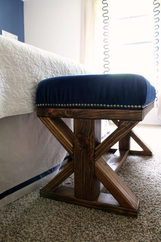 2x4 Challenge Farmhouse Style Bench Side View In Bedroom 768x1152