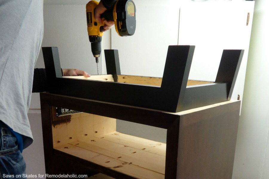 Chunky Nightstand Saws On Skates Leg Installation