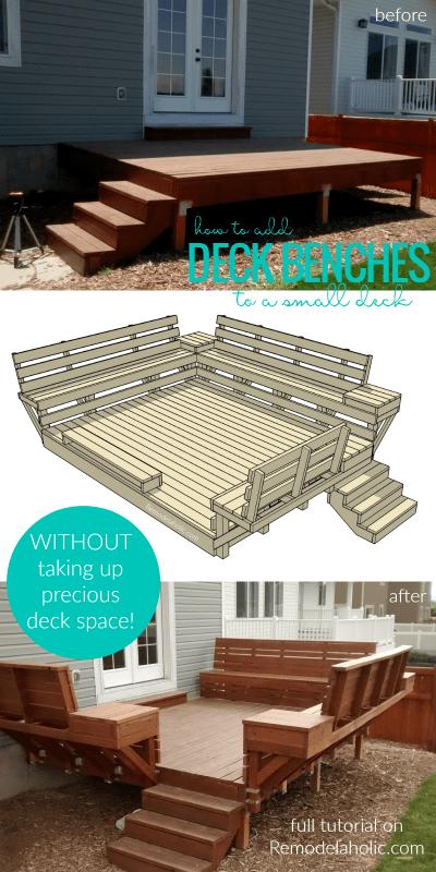 DIY Space Saving Deck Benches Tutorial @Remodelaholic